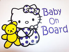 Baby On Board Hello Kitty Vinyl Decal/Sticker Any Color Or Size On request