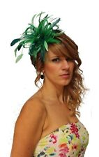 NEW Green & Teal Feather Fascinator Hat Races Choose any colour Satin & Feather