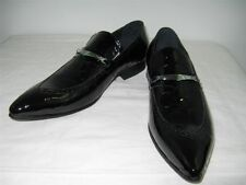 New Encore Fiesso Black Pointed Toe Patent Leather Slip on Shoes FI 3098