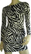 Mini Dress Top Party Cocktail Sexy Size 8 10 Women Black White Leopard V Back