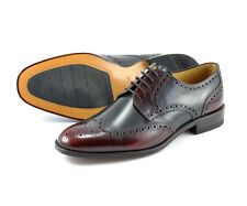 LOAKE MENS BURGUNDY AND BLACK LEATHER LACE UP FORMAL BROGUE SHOES - ARLINGTON