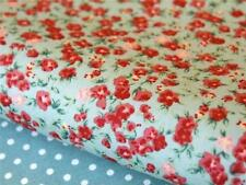 FQ / Meter 100% cotton Autumn GREEN Rose Vintage floral quilting bunting fabric