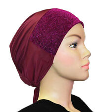 Hat cap under scarf Tie back hijab NEW Sparkle glitter