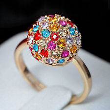 18K Rose Gold Plated Colourful Swarovski Crystals Ball Ring R393