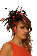 Black & Coral Pink Fascinator Wedding Hat Choose any colour satin & feathers