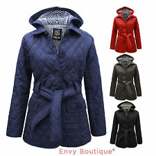 NEW WOMENS LADIES QUILTED PADDED BUTTON HOODED WINTER BELTED JACKET COAT 8-14