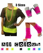 80s Black Mesh Vest S-XXL + Leg Warmers & Short Mesh Gloves - Various Colours