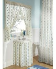 WAVES SHOWER CURTAIN COVERED VOILE EMBROIDERED CONTRASTING WAVE DESIGN part of a