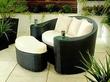 RATTAN GARDEN FURNITURE OUTDOOR CHAIR TWO SEATER PATIO CONSERVATORY DAYBED