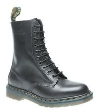 New Dr Martens 1490'z Classic 10 Eye Black Leather Biker Boots Skinhead Retro