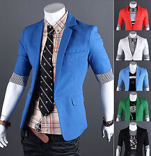 Mens Premium Slim Fit Casual Dress Cotton 1/2Sleeve Blazer Jackets_F23_on Sale