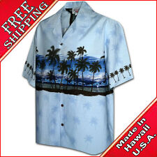 Men's Aloha Shirts Cotton Tropical Sunset 440-3511 Blue NEW Made in Hawaii, USA.