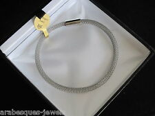 GENUINE ARABESQUES CHARMS MAGNETIC PURE MESH ATTRACTION BRACELET SILVER PLATED