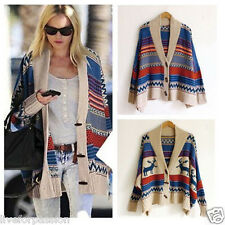 UK Seller! Woman's Chunky Knit Oversize Aztec/Navajo/Tribal Poncho Cardigan top