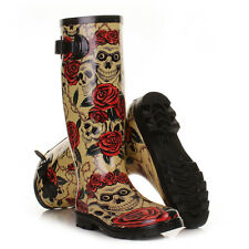 WOMENS LADIES LADIES SKULLS ROSES WELLIES FESTIVAL WELLINGTON BOOTS  SIZE 3-8