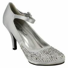 LADIES SILVER SATIN COURT SHOES WITH DIAMANTE DETAIL ON TOE - L2240
