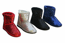 Sparkle Sequin Mini Ugg Boots Premuim Australian Sheepskin Black Blue Silver Red