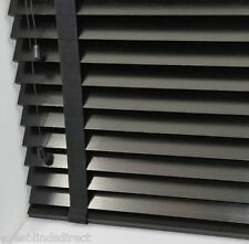 PREMIUM MADE TO MEASURE BLACK WOODEN VENETIAN BLIND 35MM SLATS WITH TAPES WOOD