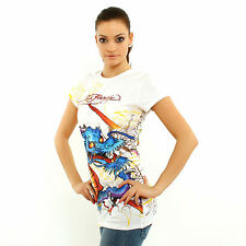Ed Hardy by Christian Audigier Women Dragon all over print white short sleeve