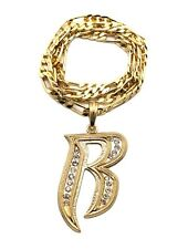 "NEW RUFF RYDERS 'R' PENDANT & 5mm/24"" FIGARO CHAIN HIP HOP NECKLACE - MSP330"
