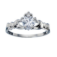925 Sterling Silver Claddagh Ring with Clear CZ Heart - ALL SIZES AVAILABLE