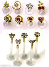 9ct Gold & BIOFLEX ® 1.5mm clear CZ Gem 1.2mm 8mm Bar Monroe Tragus lip ear ptfe