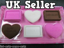 COLLECTABLE NOVELTY VALENTINE'S HEARTS BOX OF CHOCOLATES ERASERS PINK WHITE UK