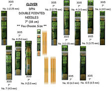 """NEW 7 """"  DOUBLE POINTED KNITTING NEEDLES * Your Choice Size * Bamboo CLOVER"""