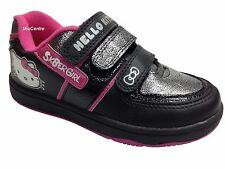 New Girls Hello Kitty Velcro Fashion Trainers Black Silver Pink Faux Leather