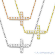 Sideways Cross Christian Charm Pendant Cubic Zirconia Sterling Silver Necklace