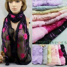 New Sequins Lace Shawl 3D Rose Floral Lightweight Oblong Scarf Wrap With Ruffle