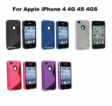 Apple iPhone 4 4G 4S 4GS TPU Silicone Rubber S shape Cover Case