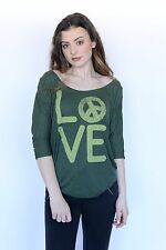 FREE PEOPLE ARMY COMBO LOVE PEACE WOMENS GREEN 3/4 SLEEVE TOP SHIRT SIZE XS,S,M