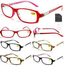 Plastic Color Reading Glasses with Metal Rhinestone Design