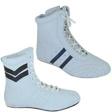 WOMENS WHITE MID CALF HIGH TRAINERS LADIES LACE UP LIGHT FLAT BOOTS SIZE 3-8