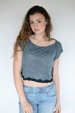 FREE PEOPLE WOMENS LACEY BURNOUT MUSCLE CROP LAGOON TOP SHIRT TEE SIZE XS, S, M