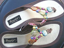 Stylish GRANDCO MARBLE BeadsThong Brown Women's Sandals Flip Flops US Size 6-10