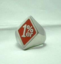 1%er Outlaw Biker One Percenter Ring Red Enamel