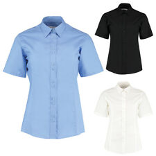 New KUSTOM KIT Womens Ladies City Work Short Sleeve Blouse 3 Colours Size 8-20