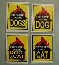 Firefighters save rescue my dog cat pet emergency door sticker fire fighter