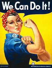Vintage WW2 Rosie - We Can Do It ! Home Decor Canvas Print, choose your size.