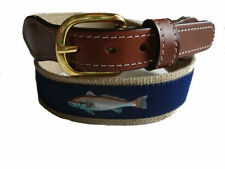 Mens Embroidered Leather Canvas Fishing Belt   Redfish Red Fish   select size
