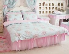 King Queen Full Twin Princess Shabby Floral Chic Blue Duvet Comforter Cover Set