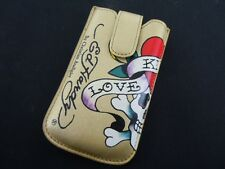 2x New OEM Ed Hardy Gold Love Kills LKS Universal Leather Phone Pouch Case