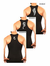 MENS BLACK COTTON RIBBED PRINTED GYM FITTED VEST TANK TOP VESTS M L XL 2XL 3XL