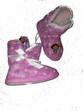 DORA THE EXPLORER SLIPPERS ANKLE BOOT GIRLS PULL ON PINK 6 7 8 9 10 11 12