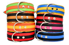 "Handmade LEATHER BICOLORS LARGE BREEDS BIG DOG COLLARS 1.6"" and 2.0"" WIDE"