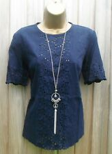 Ex Whistles Navy Blue Daisy and Top Spot Tunic - Size 6 8 10 12 14