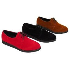 LADIES BLACK RED OR TAN LACE-UP BROTHEL CREEPERS CRUSHERS SUEDETTE RETRO SHOES