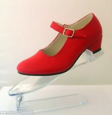 New Spanish Flamenco Dance Shoes Bright Red - All Sizes Available